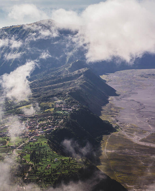 Aerial view of a mountainous Indonesian community